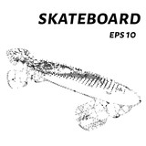 The skateboard is made of points, lines and triangles. The polygon shape in the form of a silhouette of a skateboard on a white background. Vector illustration.