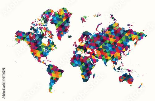 Decorative world map abstract geometric pattern