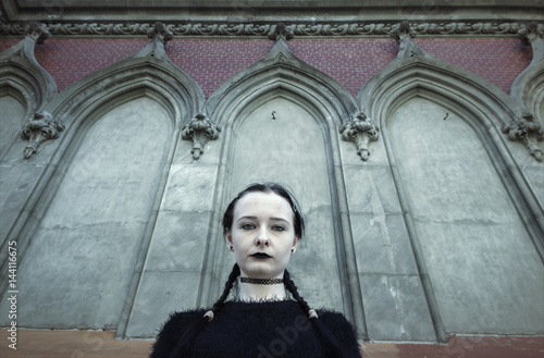 Gothic girl, against the background of old gothic architecture Poster