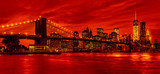 Panorama new york city at night in red tonality