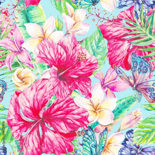 Fototapeta Watercolor tropical flowers seamless pattern