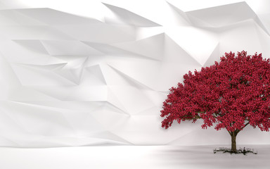 Abstract White Wall Cherry Tree
