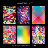 Abstract geometric backgrounds set, brochure & flyer designs, cover templates. - 144124614