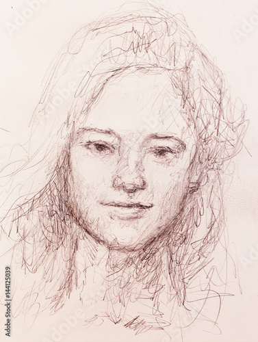 woman portrait. pencil drawing on old paper.