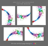 Abstract geometric wavy shapes backgrounds set, brochure & flyer designs, cover templates. - 144125621