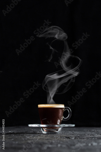 Steamy Coffee on Dark Background Poster
