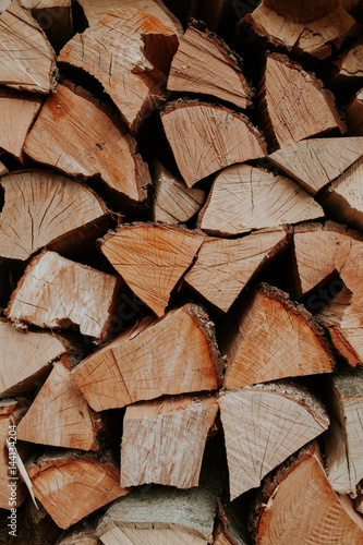 Foto op Plexiglas Brandhout textuur Woodpile of cut trees in the lumberyard. Background and texture with space for text or image. Fire wood prepared for winter.