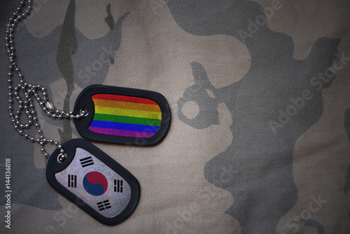 Staande foto Seoel army blank, dog tag with flag of south korea and gay rainbow flag on the khaki texture background. military concept