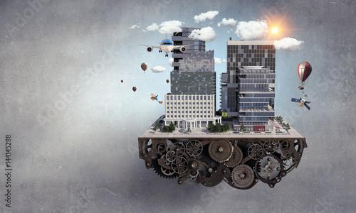 Fototapeta Mini city design . Mixed media