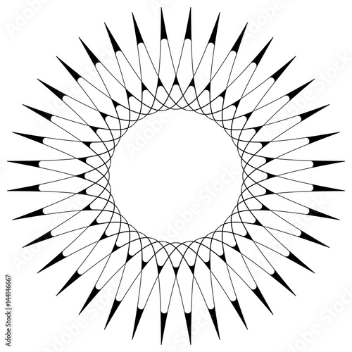 Geometric circular pattern. Abstract motif with radiating intersecting lines - 144146667
