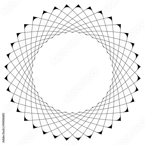 Geometric circular pattern. Abstract motif with radiating intersecting lines - 144146685