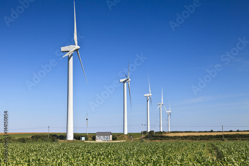 Wind farm on Farmland, Brittany, France Poster