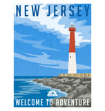 New Jersey travel poster or sticker. Vector illustration of historic lighthouse on the Atlantic coast. - 144156821
