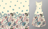 Vector seamless pattern with pastel blue pink beige flowers and butterfly ornament on white background, hand drawn texture for clothes, bedclothes, invitation, card design etc. Women's dress mock up