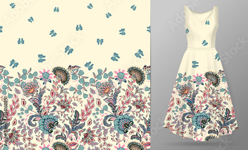 Spoed canvasdoek 2cm dik Vlinders in Grunge Vector seamless pattern with pastel blue pink beige flowers and butterfly ornament on white background, hand drawn texture for clothes, bedclothes, invitation, card design etc. Women's dress mock up