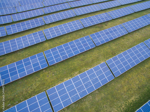 aerial view top view on blue solar pannels  Poster