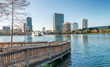 Lake Eola and buildings in Orlando