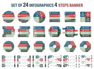 Set of infographic four steps vector banner.