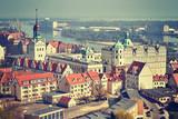 Vintage stylized aerial view of Szczecin (Stettin) city downtown, Poland. - 144186283