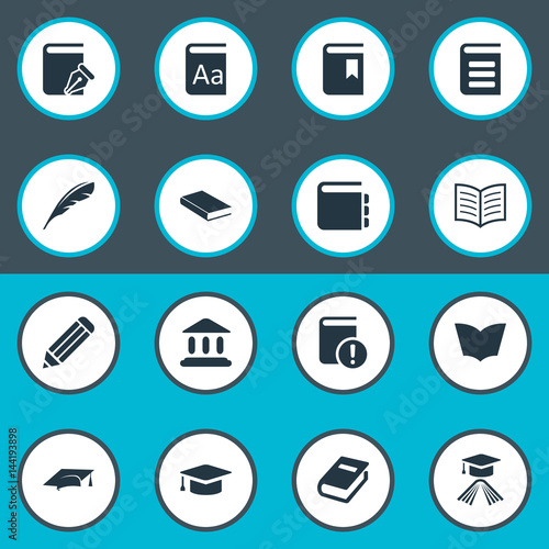 Vector Illustration Set Of Simple Knowledge Icons. Elements Plume, Academic Cap, Notebook And Other Synonyms Cap, Journal And Feather.