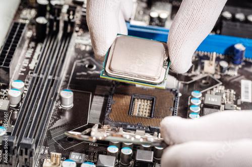 Deurstickers technicial install cpu chip to mainboard computer