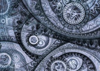 Blue fractal steampunk machine