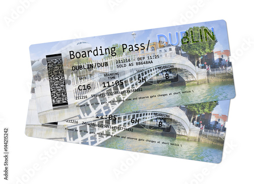 Airline boarding pass tickets to Dublin - The most famous bridge in Dublin calle Poster