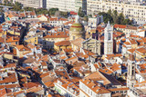 NICE, FRANCE, on JANUARY 9, 2017. The morning sun lights red roofs of the old city,