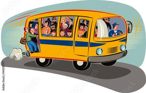 Bus overloaded with passengers traveling. © serghi8