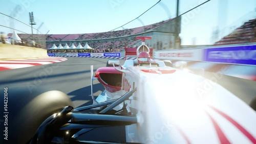 Foto op Plexiglas F1 Race car. Very fast driving. Realistic 4K animation.