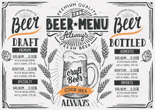 Fototapeta Beer menu restaurant, drink template.