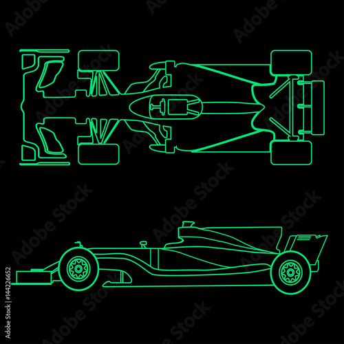 Tuinposter F1 Formula car, linear light silhouette of a racing car isolated on black background. Top view and side view. Vector illustration.