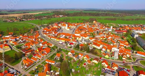 Camera flight over a medieval Dobrany town in Czech Republic, Europe.