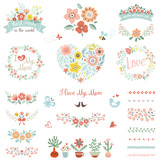 Mother's Day set with typographic design elements. Flowers, branches, wreaths, floral heart, butterflies, bee, bird, brushes, cactuses, plant pots and vases. Vector illustration.