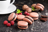 Chocolate and raspberry french macarons with ganache filling