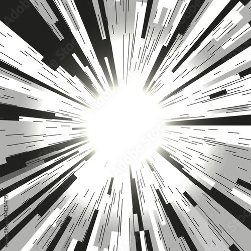 Comic book radial lines background. Black and white rays. Explosion with speed lines. Manga speed frame. Square stamp design. - 144254093