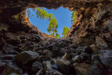 View from a cave upstairs to the sky and a tree on the edge