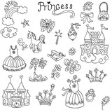 background to the princesses castle, dresses, accessories, crown, horse