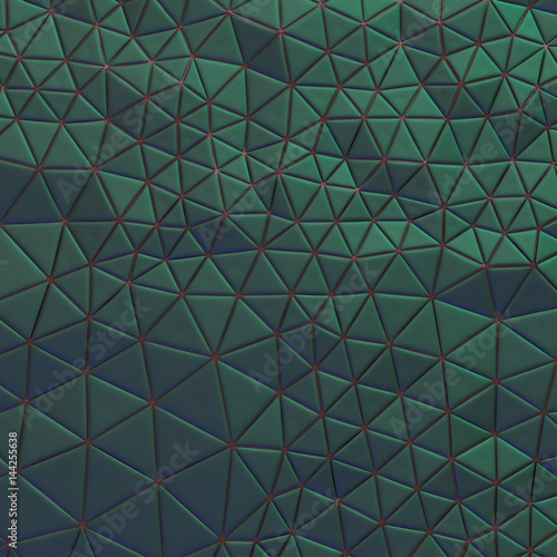 Abstract, eometric triangle green mosaic background - 144255638