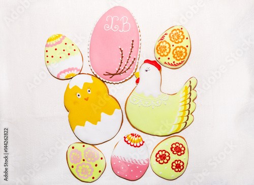 Poster Easter egg shaped sugar cookies