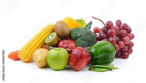 vegetables and fruits on white background