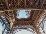 View from below of a fragment of the Eiffel Tower