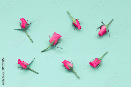 Cut pink roses on light green wooden background