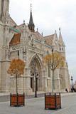 Fisherman's Bastion in Budapest, Hungary. Two orange trees in the autumn on the territory bastion
