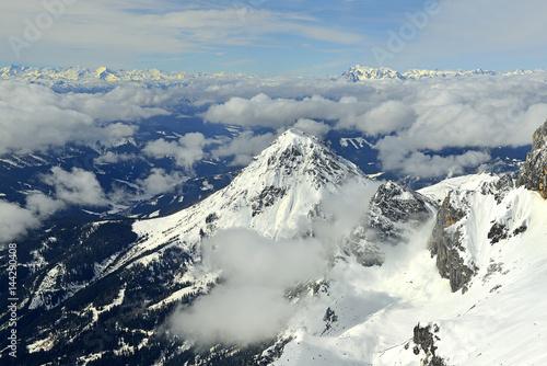 Mountain range with peak Rotelstein (Rettenstein), The Dachstein Mountains (German: Dachsteingebirge) are a mountain range in the Northern Limestone Alps. UNESCO World Heritage Site