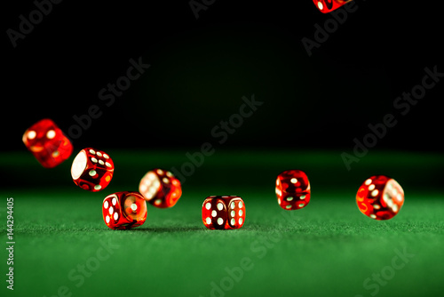 Casino Concept background with rolling dice, плакат