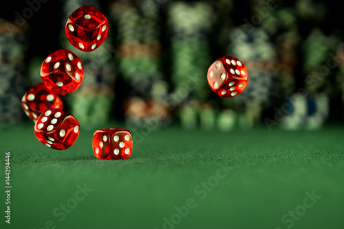 Платно Casino Concept background with dice, in montion