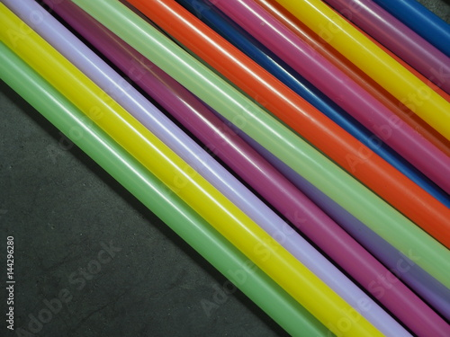 Colorful plastic straw use for drink water