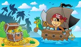 Boat with pirate monkey theme 3