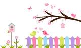 Rama de árbol, valla, pájaros y flores. - 144304411